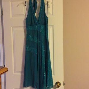 Sparkling green halter dress
